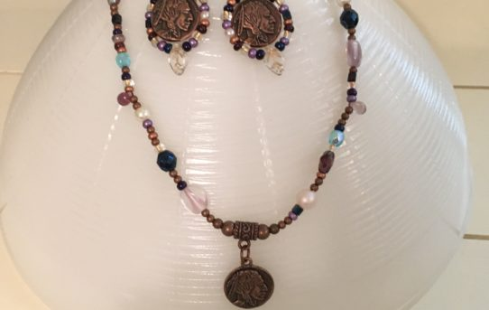 Copper Indian Head Necklace Earring Set